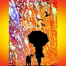 NIK TOD ORIGINALE PITTURA grande cartello ARTE MODERNA Passeggiata con il mio cane sotto la pioggia UK