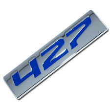 CHROME/BLUE METAL 427 ENGINE RACE MOTOR SWAP EMBLEM BADGE ZZ4 L88 HOT RAT ROD