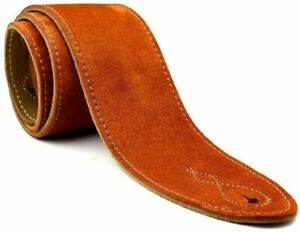 Real Suede 2.5 Inch Wide Leather Copper Guitar Strap with Reinforced Strap Ends