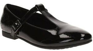 Clarks SELSEY FUDGE BLACK PATENT Girls Leather School Shoe 10 - 12 FG Fit BNIB
