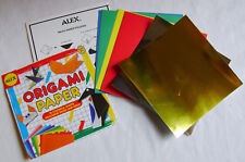 NEW 18 MULTI COLOUR inc SILVER GOLD ORIGAMI PAPER SQUARE SHEETS ALEX 286