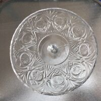 "EAPG Antique Lancaster ""KANSAS""  Clear Glass Pedestal Cake Plate Fluted Rim"