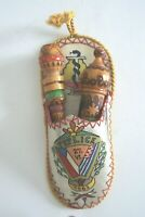 Vintage Cigarette Holder & Perfume Vial Wood Carved Pyrography Bulgarian 1963