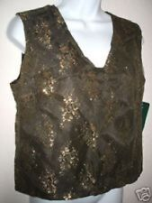 NWT Harve Benard FOREST GREEN & GOLD slvls DRESSY / WORK Shell / Top ~ 8 / S