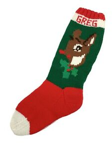 "Vintage 22.5"" Hand Knit Christmas Stocking Personalized ""Greg"" Rudolph Reindeer"