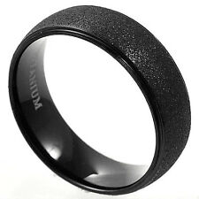 Plain Black Plated Titanium RING with Brushed Finish, size 12, NEW - in Gift Box