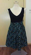 NEW Kensie Black Teal Peacock Swirl Skater A-Line Tank Dress Flared Skirt M