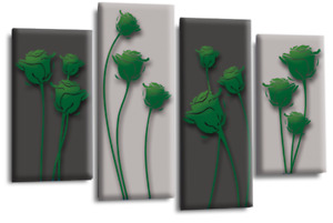 Le Reve Abstract Floral Love Art Green Grey Black Wall Canvas Split 4 Panel