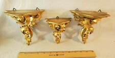Three Antique Italian Hand Carved Wood Gold Gilt Florentine Rococco Shelves NR