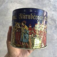 Haeberlein Metzger German Vintage Metal Cookie Tin Box Collectible Storage Rare