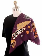 Vintage Acetate  Scarf  Fab Abstract Leaf Pattern Eggplant  Gold Silver 1950s