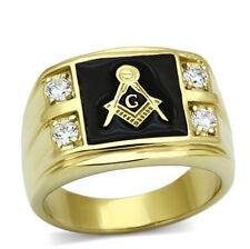 Men's Gold AAA CZ Masonic Freemason Jewelry Ring Band Metal Biker Ring Size 6-14