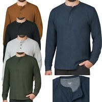 Mens Long Sleeve T-Shirt Thermal Henley Grandad Warm Waffle Knit Winter Cuff Tee
