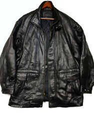 Baracuta Mens Black Leather Jacket Coat Front Zip 7 Pocket Lined Size XL