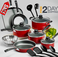 Cookware Set Pots And Pans Red 18-Piece Non Stick Large Cooking Professional NEW