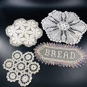 Vintage Assorted Handmade Crocheted Doilies Lot Of 4 Off White Cream Bread