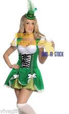 St Patricks or Oktoberfest Dirndl German Green Costume size 8/10 BONUS HAT