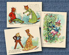 set of 3 louis Wain cat postcards - modern