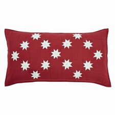 KENT KING SHAM : COUNTRY CABIN RED CHRISTMAS IVORY 8 POINT STAR PILLOW COVER