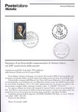 ITALIA 2000 ANTONIO SALIERI  BOLLETTINO COMPLETO DI FRANCOBOLLI FDC