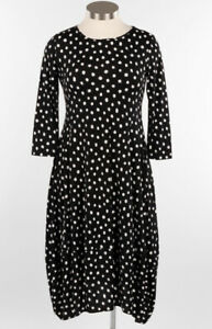 Comfy USA Dress Sonia Style Black / White Polka Dot Midi Length Dress NEW Sz XL