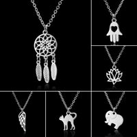 Silver Stainless Steel Animal Wing Necklace Pendant Women Jewelry Fashion Gift