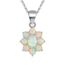 "White Fire Opal Silver For Fashion Women Jewelry Gemstone Pendant 1 1/8"" OD6012"