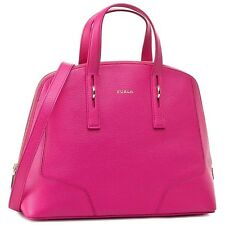 £ 400 originale FURLA PERLA Designer Hot Rosa Brillante Pelle Oro Tote Bag Borsa