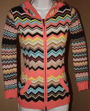 MISSONI for Target Peach Brown Multi Zig Zag LS Hoodie Sweater Jacket M Juniors