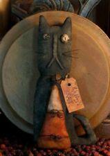 PATTERN Primitive Halloween Stumpy Black Cat Doll & Candy Corn Ornie FREE SHIP