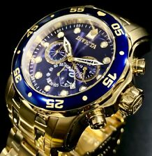 Invicta Mens Pro Diver Scuba Chronograph Blue Dial 18K Gold Bracelet Watch 0073