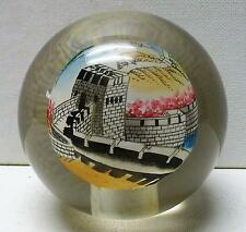 Great Wall of China Reverse Painted Paperweight Signed