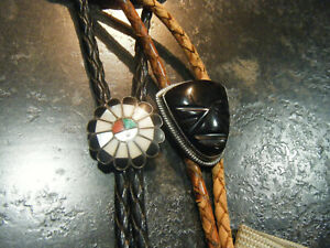 Native Southwest 925 Sterling Silver Bolo Tie Set Turquoise Coral MOP Onyx