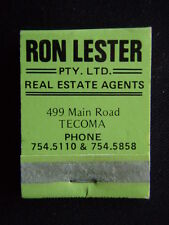 RON LESTER PTY LTD REAL ESTATE AGENTS 499 MAIN RD TECOMA GREEN MATCHBOOK