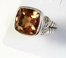Sterling Silver Square Faceted Citrine & CZ Filigree Size 6 Ring R032107
