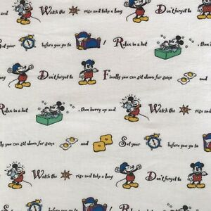 Vtg Disney TWIN Flannel Flat + Fitted Sheet Set Mickey Mouse Rise & Shine Script