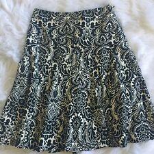 Ann Taylor Womens Career Business Flared Skirt Sz 2 Black White Paisley Lined