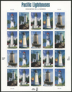 US 2007 41c Pacific Lighthouses Sheet of 20 Stamps Scott #4146-50 MNH