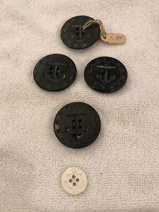 Vintage Button Lot # 93 - NAVY Peacoat black plastic ANCHOR & STARS 3.2 cm WHITE