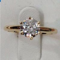 Ring size N 18K Gold Diamond Solitaire Gift Promise Engagement Holiday gf