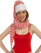 Santa Claus Stripped Cozy Wrap Hat Long Red & White Christmas Holiday Hat