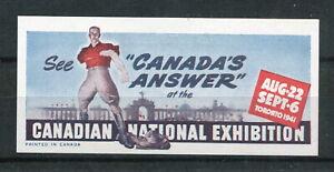 x267 - CANADA 1941 POSTER Stamp. Toronto CNE. War Effort. Patriotic Label. MLH