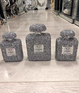 SET OF 3 XL SILVER CRUSHED DIAMOND SPARKLY PERFUME BOTTLE ORNAMENT,SHELF SITTER✨