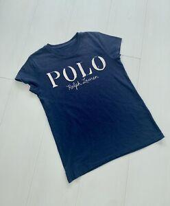 Ladies Polo Ralph Lauren Logo Navy Blue T Shirt Size XS