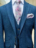3PCS Men's British Wool Blue Tweed Suit Jacket Vest Pants 38 40 42 44 46+ Custom