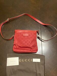 New Authentic Gucci GG Guccissima Nylon Leather Crossbody Bag