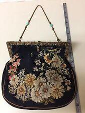 Vintage 1930's Black & Floral Cotton Needlepoint Purse - Bag