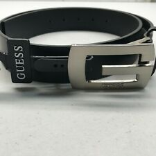 NEW Guess Black Synthetic Leather Belt with Silver Buckle Size 34 35157MA