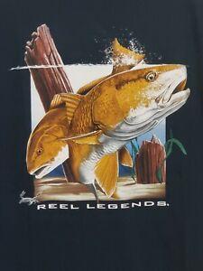 Vintage Reel Legends TShirt 1990s Redfish saltwater Fishing  3D XL Navy Blue