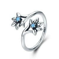 Anillo 925 Plata de Ley Abierto Tamaño Ajustable - Flor Margarita Azul Circonita